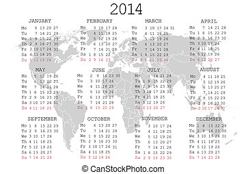 2014 Calendar with world map