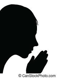 dziecko, modlący się