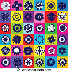 Seamless colored pattern with different kind of flowers