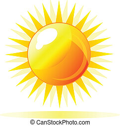 Abstract vector shiny sun icon with reflection. Isolation...