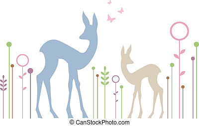 cute deers with floral background - roe deer and fawn with...