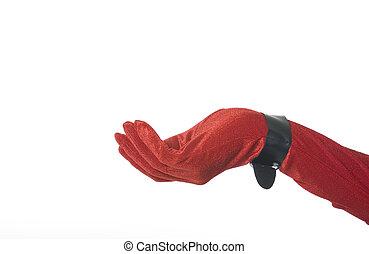 Red Velvet Hand - Red velvet glove with black buckle at...