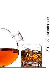 Whiskey Glass and Decanter isolated over white
