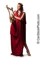 girl in a red tunic - cute girl in a red tunic with a harp