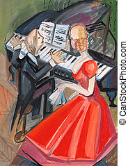 woman in red dress and pianist on music lesson