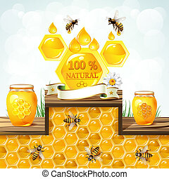 Glass jar with honey and bees