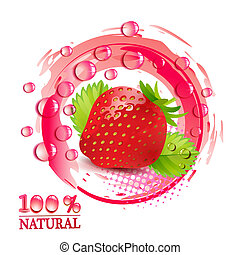 Strawberry with leafs and drops