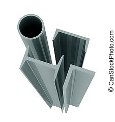 high technology background - aluminum profiles