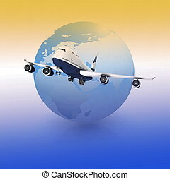 airliner with a globe in the color background