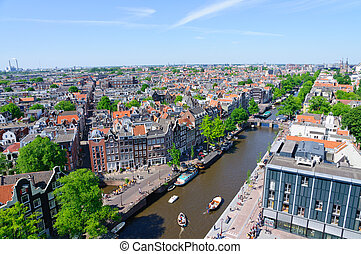 View from the Westerkerk, Amsterdam - View of the old city...