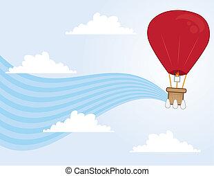 Hot Air Balloon Flowing - Hot air balloon floating through...