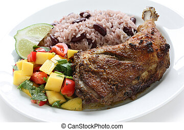 jerk chicken plate - jamaican food