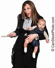 Businesswoman and Mother - Working Hispanic mother with baby...