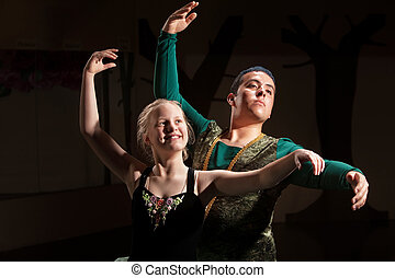 Duo Ballet Performance - Young blond dance student...
