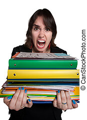 Overworked Worker - Screaming mad office worker with binders...