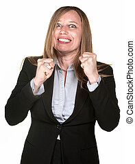 Excited Businesswoman - Excited pretty Hispanic...
