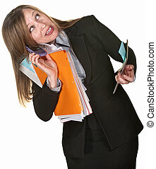 Multi-tasking Business Lady - Busy executive with phone,...