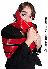 Woman In Red Tape - Scared businesswoman wrapped in red tape...