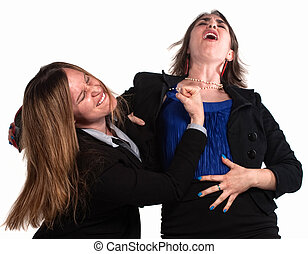 Businesswoman Fighting Each Other - Angry businesswoman in a...