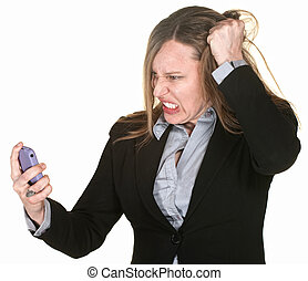 Woman Pulling Her Hair - Mad businesswoman with phone pulls...