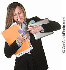 Woman Multi-Tasking - Woman with tablet and folders having...