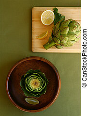Artichokes on Different Tableware