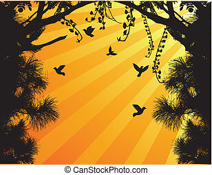 Nature Tree Silhouette With Bird Fl - Vector illustration of...
