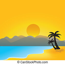 vector tropical beach - Vector illustration of vector...