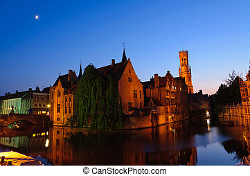 Bruges, Belgium - View from the Rozenhoedkaai at the Old...