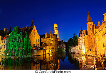 Bruges, Belgium - View from the Rozenhoedkaai of the Old...