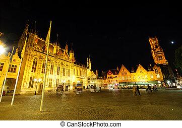 Bruges, Belgium - Markt (Market Square) of Bruges at dusk