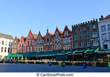 Bruges, Belgium - The Markt (Market Square) in Bruges,...