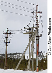 Electric line with reclosers - Electric line on concrete...