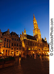 Night view of the Grand Place in Br