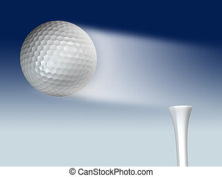 Flying golf ball - Golf ball flying from tee on blue...