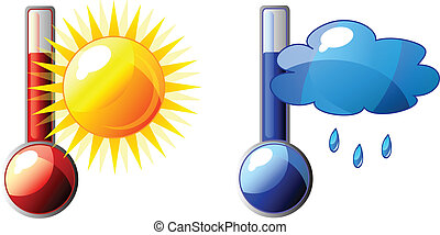 Vector thermometer - Vector icon of thermometer with sun and...