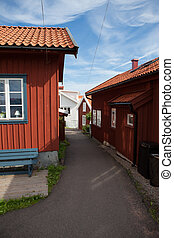 Small vacation homes in Sweden - Small passage between some...