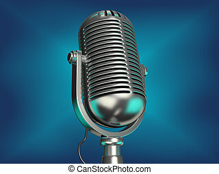 Old microphone - An old chromed microphone on blue...