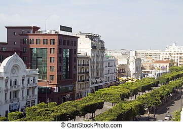 Avenue Habib Bourguiba, Tunis, Tunisia - Tunis, Tunisia-May...
