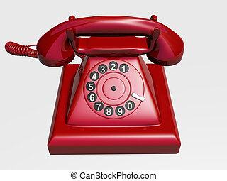 Old phone - A red old phone isolated on white background -...