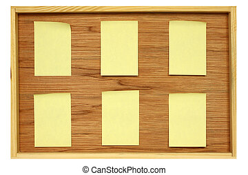 Notice board with six blank stickies isolated in white
