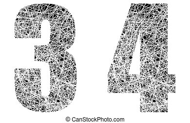 Abstract Black and White Font Numbers 3 and 4
