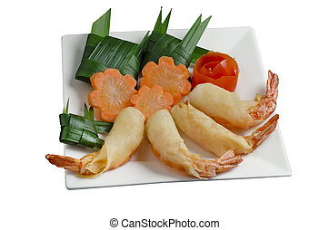 Fried shrimp - Deep fried shrimp spring rolls on white...