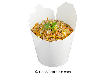 Fried rice take out - Fried rice in a take away container