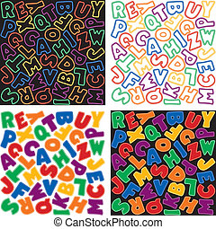 Neon Alphabet Background Patterns - Neon multicolor...