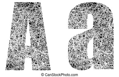 Abstract Black and White Font Letter A