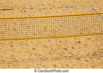 Volleyball chair and net on the beach