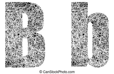 Abstract Black and White Font Letter B