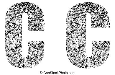 Abstract Black and White Font Letter C