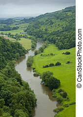 meandering river through english countryside